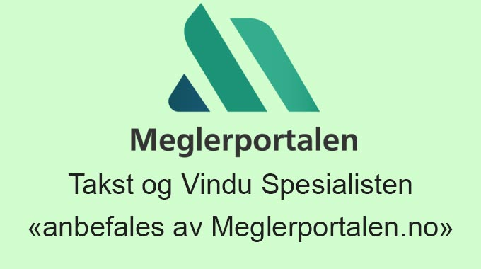 Takst og Vindu Spesialisten «anbefales av Meglerportalen.no»